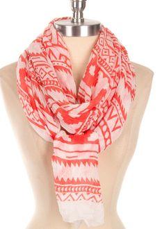 Ethnic Print Scarf Coral Scarf Lightweight Cute Scarves - By PiYOYO
