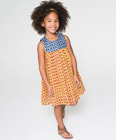 Look what I found on #zulily! Yellow & Blue Geometric Button-Front Dress - Toddler & Girls #zulilyfinds