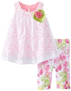 Bonnie Baby Baby-Girls Newborn Lace Top To Printed Floral Legging >> See this great image  : Baby clothes