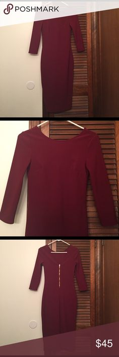 Beautiful Maroon Dress Only worn once, doesn't have tag. It's 40 1/2 inches long and XS. No Trade please. Express Dresses Midi