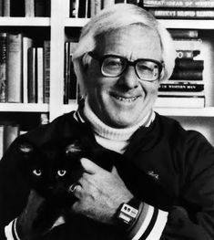 Not a book, I know, but Ray Bradbury holding a cat - c'mon, like I could pass that up