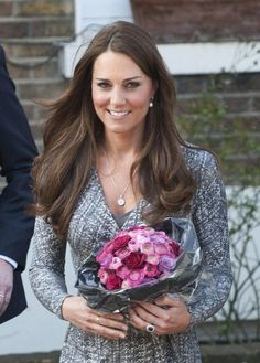 A favorite item since Kate's single days is her pavé diamond pendant, and she wore it extensively in first year of marriage — including to the First Year Of Marriage, Kate Middleton Style, Princess Kate, Duchess Kate, Diamond Pendant, Button, Fashion, Moda, Fashion Styles