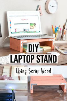 Learn how to make a simple DIY laptop stand for a desk using scrap wood with this easy to follow tutorial. Your neck and back will thank you! It is also a great beginner project and gift idea! #scrapwood #diylaptopstand #AnikasDIYLife Scrap Wood Projects, Woodworking Projects That Sell, Easy Diy Projects, Craft Projects, Diy Laptop Stand, Wooden Laptop Stand, Colorful Furniture, Diy Furniture, Wood Scraps