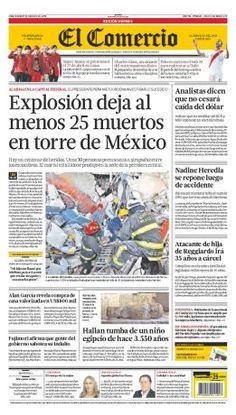"""Nuestra portada de hoy: """"Explosión deja al menos 25 muertos en torre de México"""""""