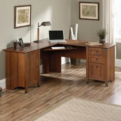 Carson Forge Corner Computer Desk in Washington Cherry - Sauder 416969416969 Features: Add some style to your office or home office while saving space with a corner deskThis l shaped desk fits nicely into a corner, giving you plenty of work space and stor Home Office Desks, Home Office Furniture, Furniture Ideas, Corner Furniture, Basement Office, Loft Office, Office Table, Farmhouse Furniture, Small Office