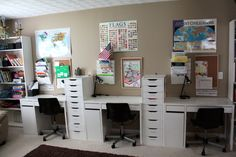 it's just Laine: Brandon and Rebecca's Home School Room Tour....I love this idea...it could even be filing cabinets and computer stations.
