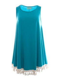 Judith March Black Easy Fitting Dress with Cream Fringe (Teal) – DejaVu