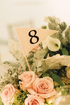 Pennant Flag Table Number. Canvas fabric bamboo stick. by byive