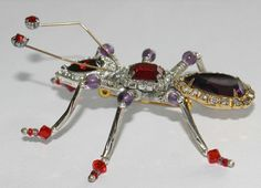 #2868 Whimsical Artisan Red & Purple Crystal & Rhinestone Bug Pin Signed Exclusively at Lee Caplan Vintage Collection on RubyLane