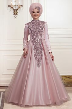 The perfect addition to any Muslimah outfit, shop Muslim fashion Evening Dress - Powder Pink Hijab Evening Dress Find more evening dresses at Tesetturisland! Hijab Evening Dress, Black Evening Dresses, Hijab Dress, Evening Gowns, Formal Dresses, Muslim Fashion, Hijab Fashion, The Dress, Gray Dress