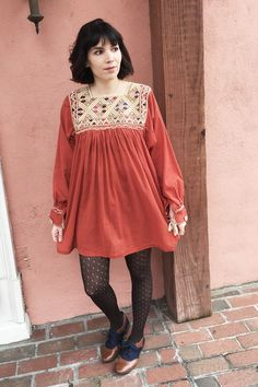 Mexican Tunic Dress in Rust