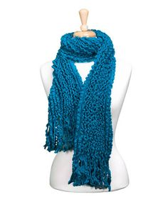 Take a look at this Turquoise Knit Fringe Scarf by Tickled Pink on #zulily today! $10 !!