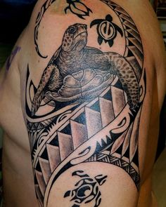 Full Tribal Turtle Tattoo On Hand