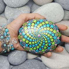 Turquoise Painted Rock Mandala Rock Green Mandala Stone