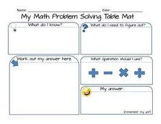 FREE My Math Problem Solving Table Mat - it makes solving math word problems so much less complicated!
