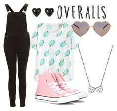 """""""Tricky Trend!"""" by rianne14 ❤ liked on Polyvore featuring Alex Woo, Converse, Wildfox, TrickyTrend and overalls"""