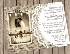 Burlap and Lace Rustic Wedding Invitation by MissBlissInvitations