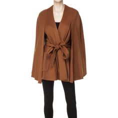 Max Studio Doubleweave Wool Cape ($268) ❤ liked on Polyvore featuring outerwear, coats, brown coat, max studio, cape coat, wool coat and brown wool coat