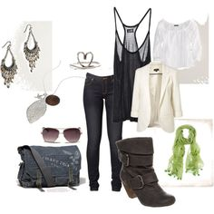 excluding the white shirt in the back, this outfit is super cute.