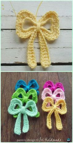 Crochet Ribbon Bow Applique Pattern - Crochet Bow Free Patterns Crochet Bow Free Patterns & Instrucions: A Collection of different ways to crochet bows: bobble stitch bow, crocodile stitch bow, easy bow handband and Crochet Design, Crochet Applique Patterns Free, Crochet Flower Patterns, Crochet Motif, Crochet Appliques, Pattern Flower, Flower Applique, Crochet Yarn, Crochet Puff Flower