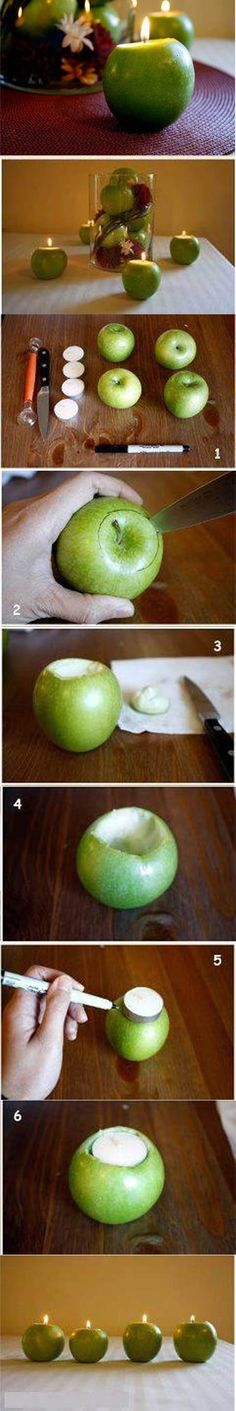 DIY Apple Candle Holders 2