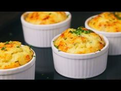 You'll Need: 2 tblspn butter 2 tspn plain flour 1 large potato 4 eggs, separated 1/4 cup gruyere (Swiss) cheese, grated 1/4 cup sharp cheddar cheese, grated 100g canned salmon, drained Salt and pepper Procedures : Grease four individual souffle dishes (one cup capacity) and dust wi