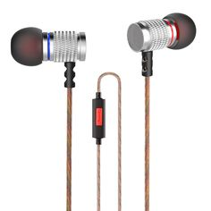 KZ ED2 Stereo Metal Earphones with Mic Noise Cancelling Earbuds Headset HiFi Earphones for iPhone Samsung MP3 MP4