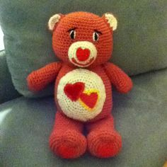 Crocheted Love a Lot Care Bear!!! Make all of them from Care Bear crochet characters.