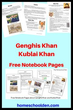 Genghis Khan, Kublai Khan Free Notebook Pages Free history notebook pages about the Silk Road, Genghis Khan, Kublai Khan and more! High School World History, World History Classroom, World History Teaching, World History Lessons, History Quotes, History Facts, Art History, Genghis Khan, History Medieval