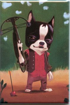 Walking Dead Daryl Dixon Boston Terrier magnet by rubenacker