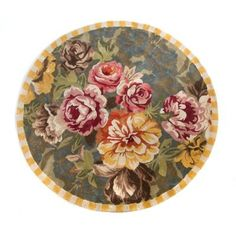 Bloomsbury Garden Rug - Round image one Best Doll House, Painted Wood Chairs, Mackenzie Childs Inspired, Mckenzie And Childs, Pioneer Woman Kitchen, Rose Wall, Dragon Pictures, Pastel Yellow, Miniature Fairy Gardens