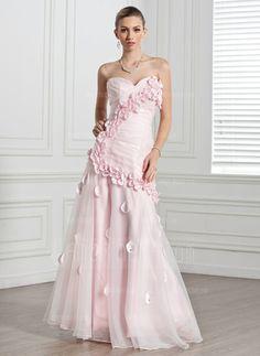 Evening Dresses - $191.99 - A-Line/Princess Sweetheart Floor-Length Organza Evening Dress With Ruffle Flower(s) (017005271) http://besthochzeit.com/A-line-Princess-Sweetheart-Floor-length-Organza-Evening-Dress-With-Ruffle-Flower-S-017005271-g5271