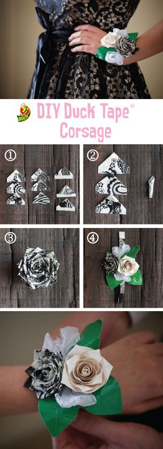 DIY duct tape corsage for prom! Make your prom outfit out of Duck Tape and enter the 2017 Stuck at Prom Scholarship Contest for a chance to win part of $50,000 in prizes!