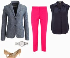 I just bought this chambray blazer from J. Crew but I don't know what to wear it with so I don't look like my mom who wears denim blazers all the time. I wore denim blazers last time they were popular and need ideas on how to look new. Hot Pink Pants, Hot Pink Blazers, Pink Jeans, Chambray Blazer, Friday Outfit, Professional Outfits, Colored Blazer, Jeans Style, How To Wear