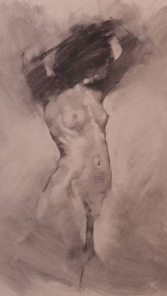 """Cathleen Drawing"" by contemporary artist Aaron Coberly, standing nude female anatomy charcoal on paper, 2006. There's superb beauty in this simplicity."