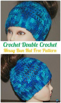 Beanie Pattern Free, Crochet Beanie Pattern, Crochet Hats, Free Pattern, Crochet Scarves, Crochet Stitches, Messy Bun, Double Crochet, Beanies