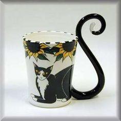 cat tail handled coffee mug