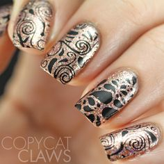 Glittery swirls nail art using our Swirls & Twirls stamping plate