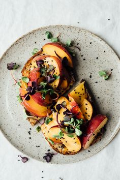 toast with peaches, tahini and honey | tending the table.                                                                                                                                                                                 More