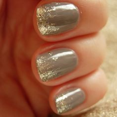 Essie chinchilly + gold tips.  Just tried this...love it but let's just say I need a little more practice.