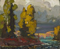"""Thomson's """"Poplars by a Lake,"""" (1916, National Gallery of Canada) reveals the influence of John Constable."""