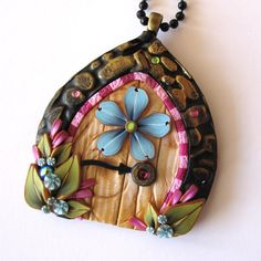 Blue Flower Fairy Door Necklace Pixie Portal Necklace by Claybykim