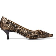 René Caovilla Embellished lace and leather pumps (25.970 RUB) ❤ liked on Polyvore featuring shoes, pumps, black, black leather shoes, black lace shoes, mid heel pumps, black pointed toe pumps and black lace pumps