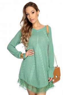 Sage Cable Knit Lace Sweater Dress