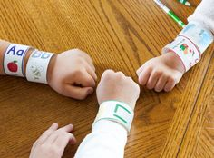 "Learn the Alphabet with ABC Bracelets! Preschoolers absolutely love these alphabet bracelets. They can admire their ""letter of the day"" just by glancing at their wrist, and they can enjoy the attention they get as friends and family ask, ""What..."