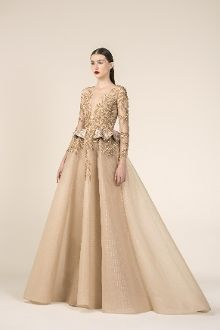 3074cd9a0c SK by Saiid Kobeisy 3578 Gold Long Sleeve Tulle and Brocade Gown. District 5  Boutique