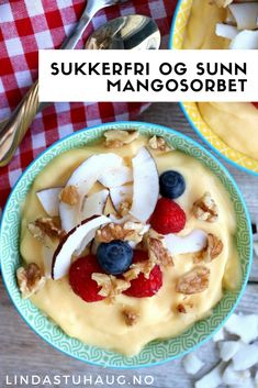 Sugar-free, healthy and good mango sorbet from Linda Stuhaug Healthy Snacks, Healthy Eating, Healthy Recipes, Healthy Breakfasts, Recipe Boards, Fodmap, Sugar Free, Meal Prep, Smoothies