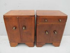 Antique French Art Deco pair of nightstands # 09634