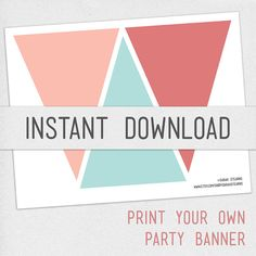 Print Your Own Chalkboard Pennant Banner - DIY Digital Download ...