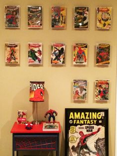 Go Spiderman!  The ComicMount product being used to hang traditional non-graded comic books.  Great comic book display!  www.comicmount.com